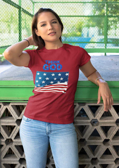 women with red T-shirt  America Think GOD