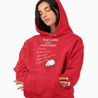 Women´s red hoodie The Lord is my shepherd