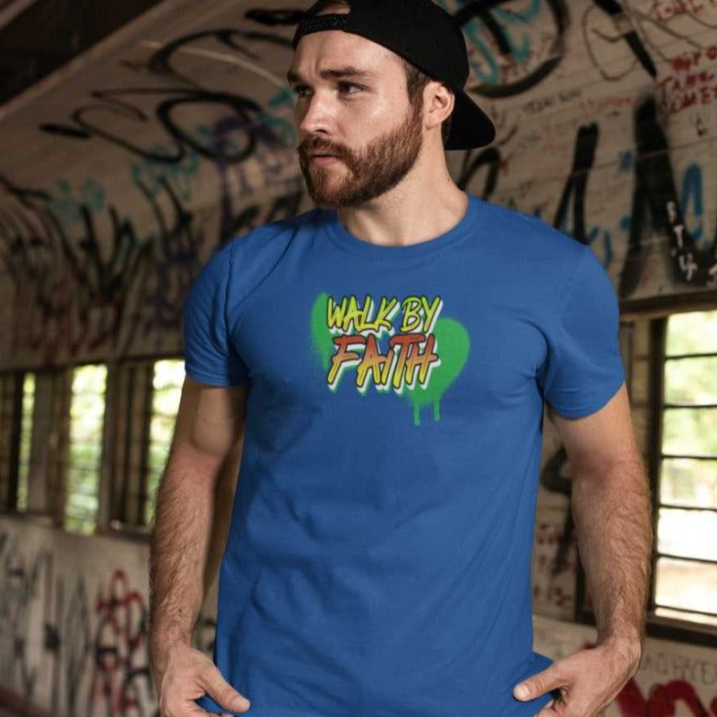 BLUE  T-Shirt Walk by faith-Christian T-shirt-religious