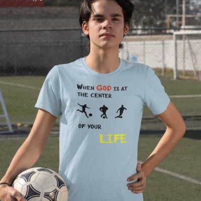 boy with sky blue T-Shirts Soccer