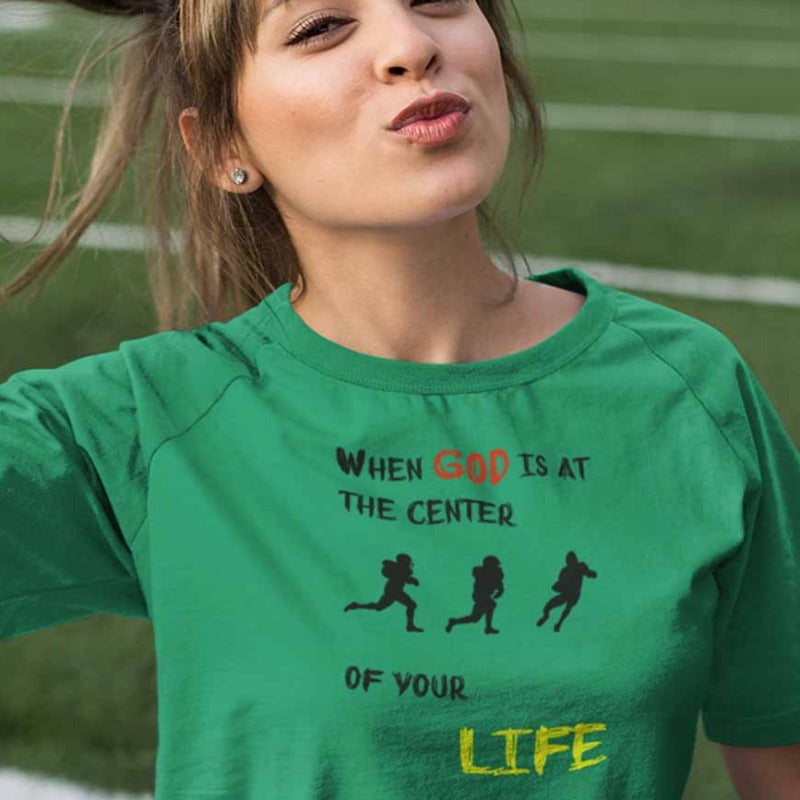 women mockup with green T-shirt When God is at center of your life