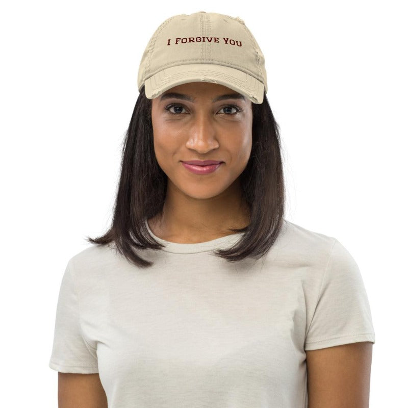 I forgive you hat-Distressed Dad Hat-colour khaki
