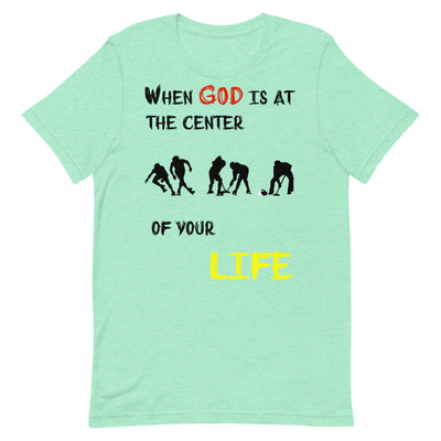 Heather Mint color T-Shirts Ice Sports-When God is at center of your life