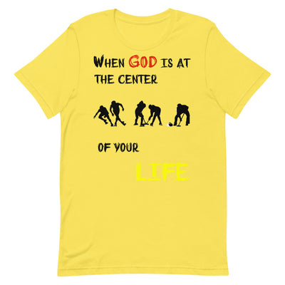 yellow T-Shirts Ice Sports-When God is at center of your life