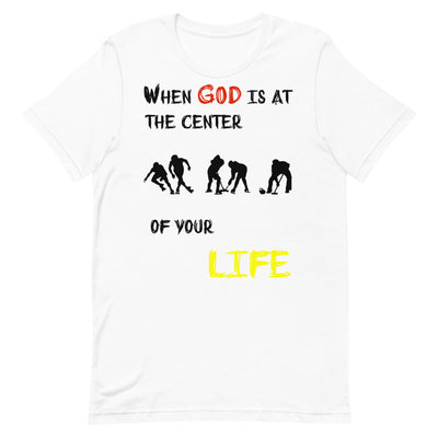 white Steel Blue T-Shirts Ice Sports-When God is at center of your life