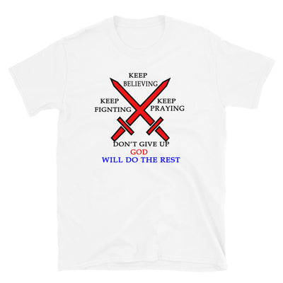 flat T-shirt white with the inscription Do Your Best, God Will Take Care Of The Rest