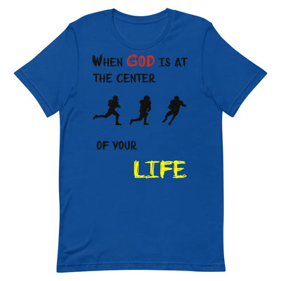 blue T-shirt When God is at center of your life