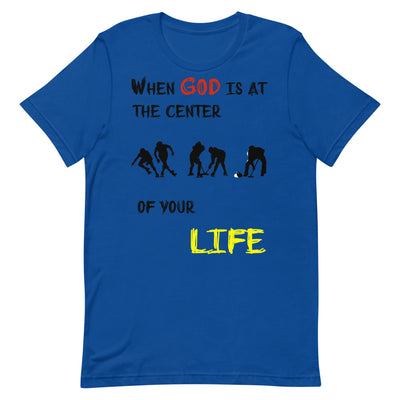 blue T-Shirts Ice Sports-When God is at center of your life
