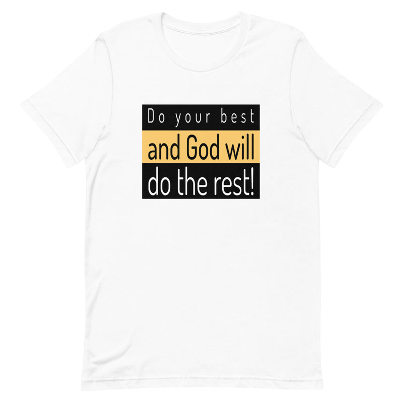 mockup men with gold T-shirt with the inscription do your best and God will do the rest!