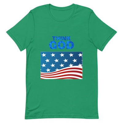 green T-shirt America Think GOD