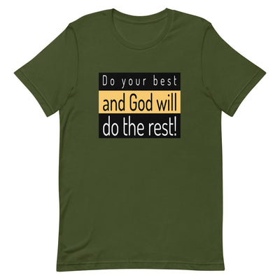 flat T-shirt green with the inscription Do your best and let God do the rest