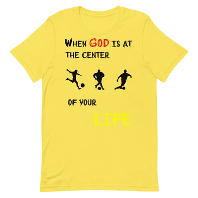 yellow  T-Shirts Soccer-christian apparel,christian mens t shirts