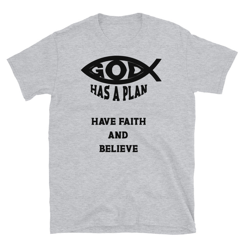 men mockup with black T-shirt God has a plan, have faith and believe