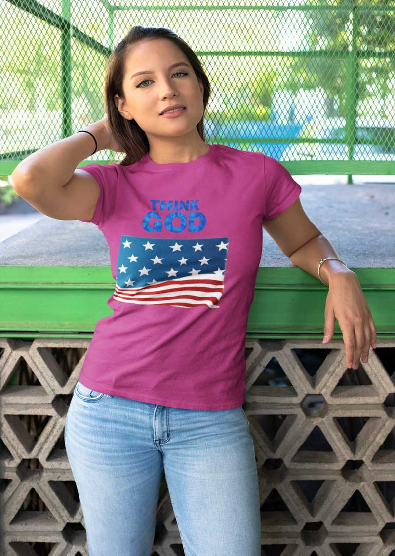 Women with black T-shirt America Think GOD