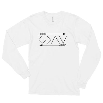 God is greater than the highs and lows-Long sleeve t-shirt-double arrows