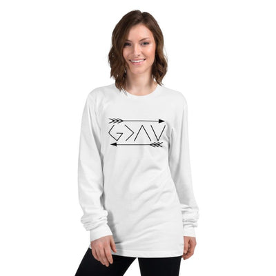 God is greater than the highs and lows-Long sleeve t-shirt-double arrows-women
