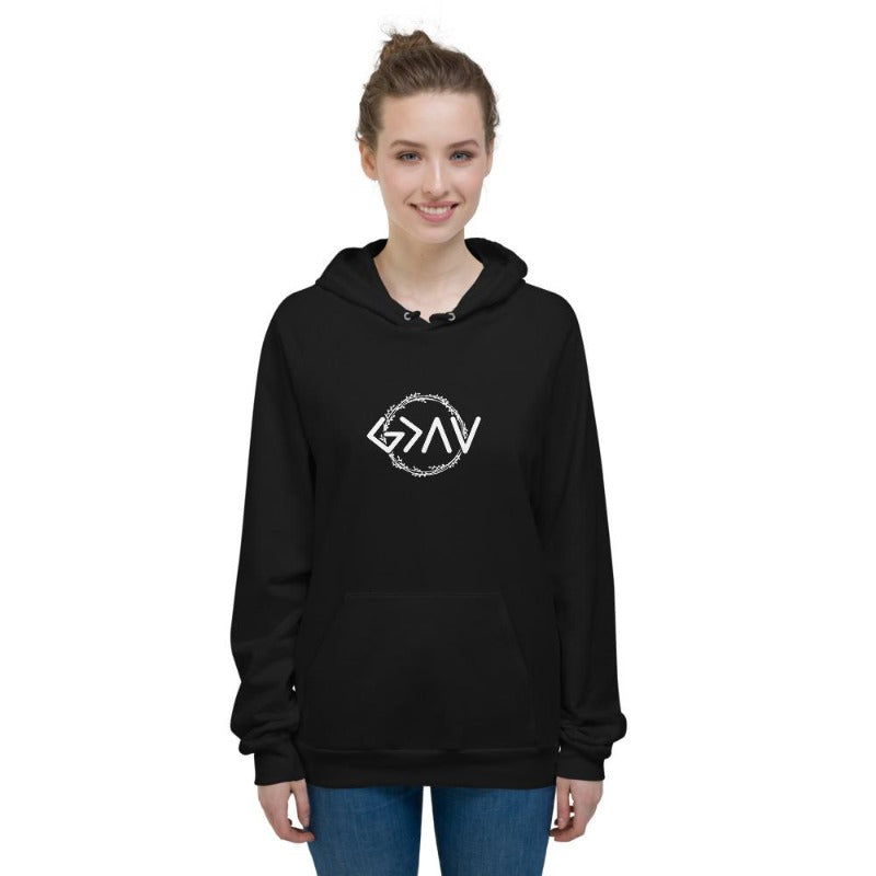 God is greater than the highs and lows Hoodies-women