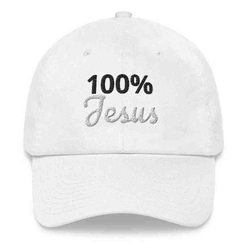 white dad hat written on it 100% jesus