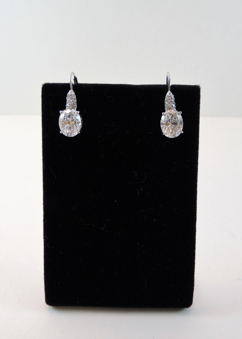 CZ Pierced Drop Earrings