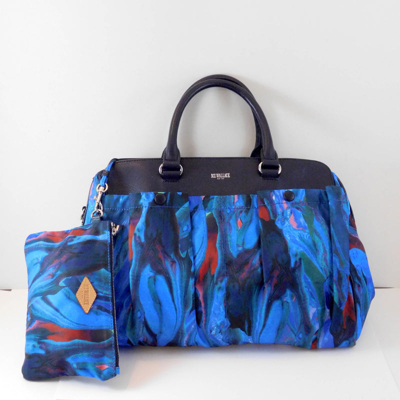 MZ Wallace New York Blue Multi Color Pattern Hand Bag Purse with Wristlet