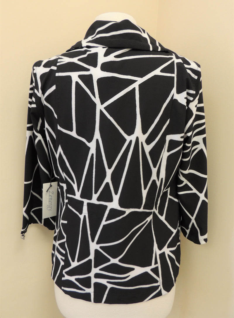 NEW Chico's Black/White Tribal Grid Jacket (S)