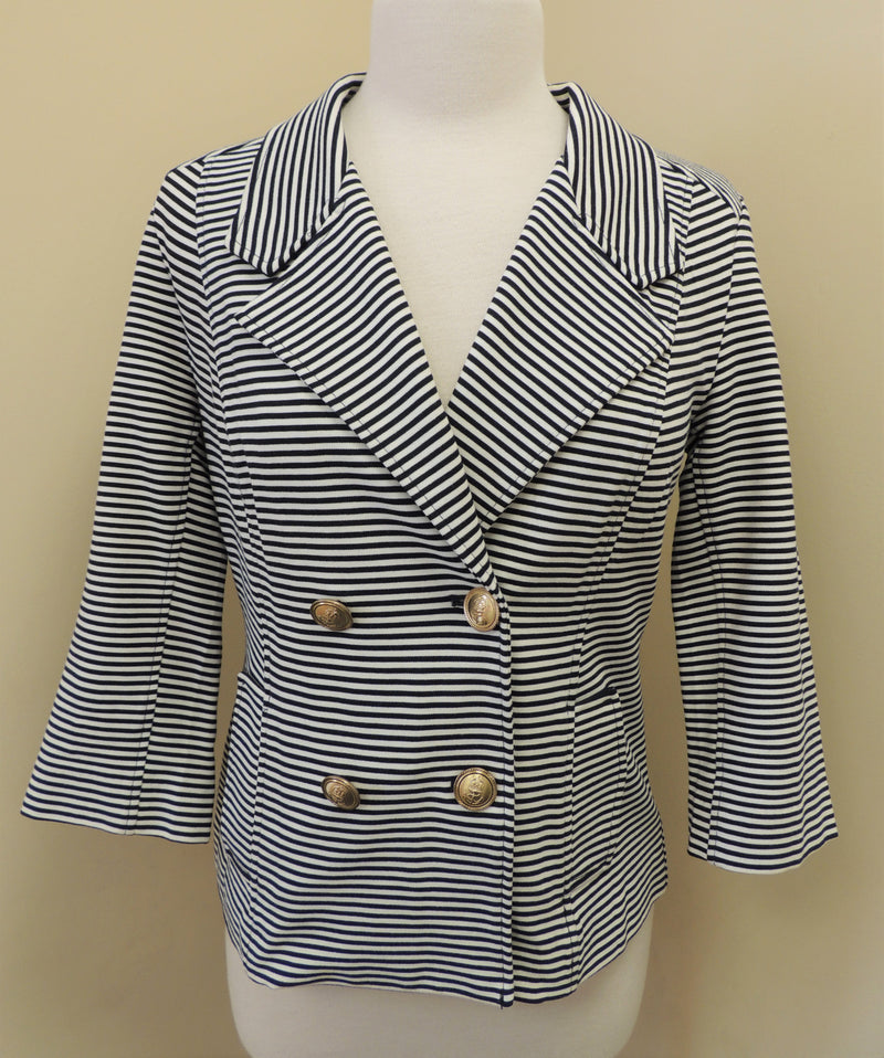 Cabi Navy/White Striped Jacket (S)