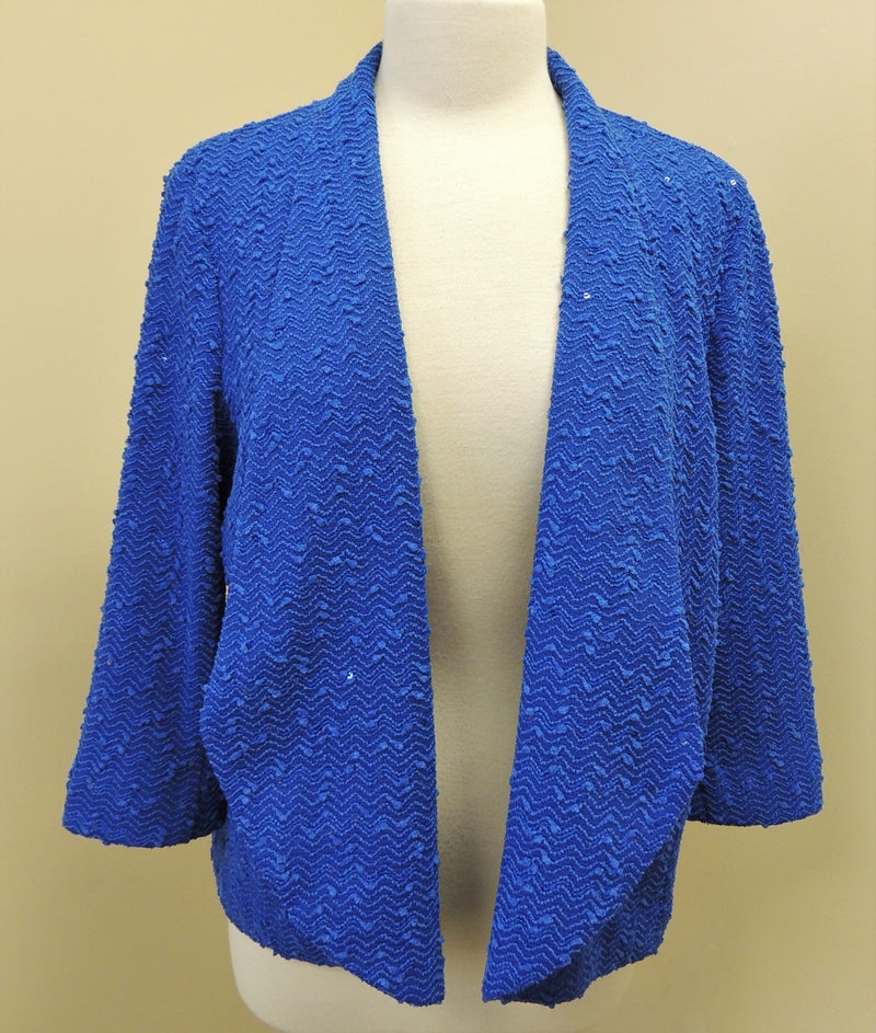Alfred Dunner Royal Blue Sequin Jacket (Size 16)