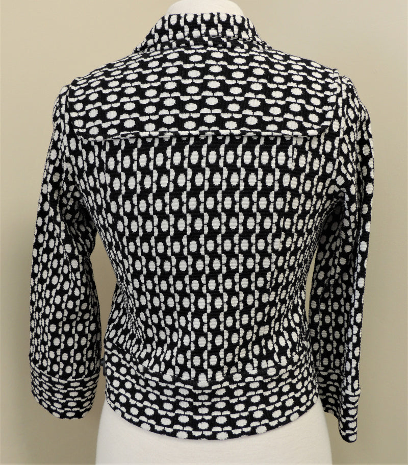 NEW Diane von Furstenberg Black/White Cropped Jacket (Size 2)