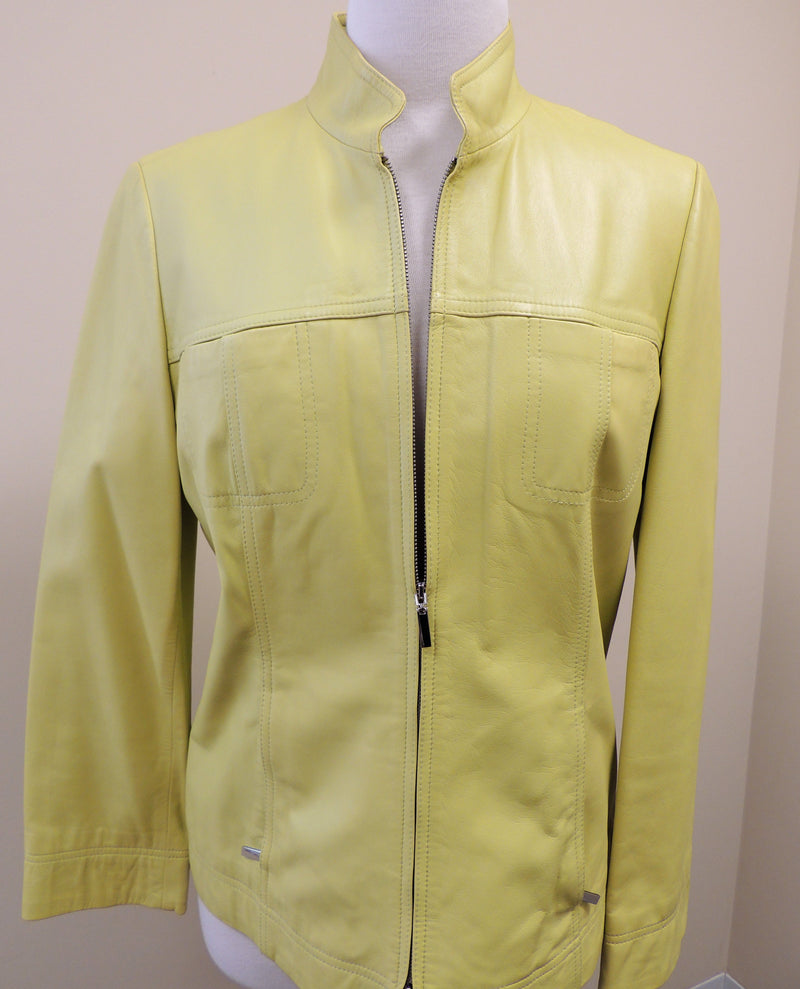 Talbots Lime Green Leather Jacket (Size 10)