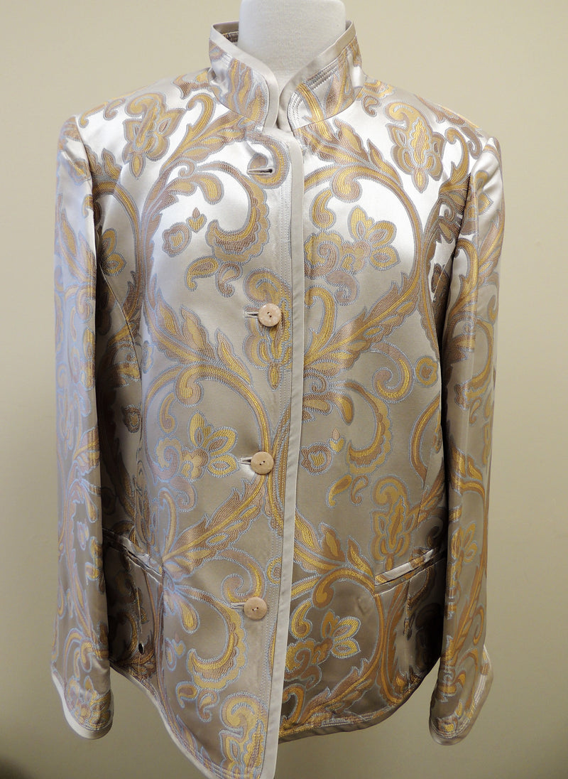 NEW Ellen Tracy Tan/Yellow Paisley Button Jacket (Size 20)