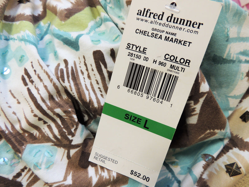 NEW Alfred Dunner Aqua/Tan Top (L)