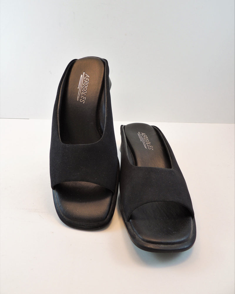 Aerosoles Black Open-toe Slip-ons (6.5)
