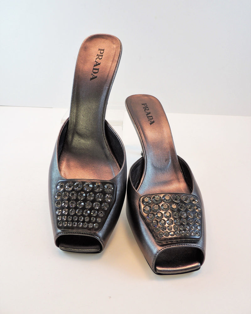Prada Authentic Silver Studded Heels (8.5)