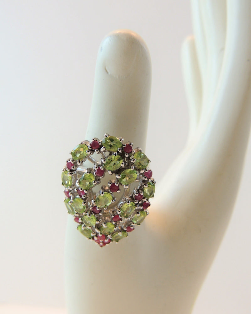 Sterling Silver Peridot & Ruby Ring