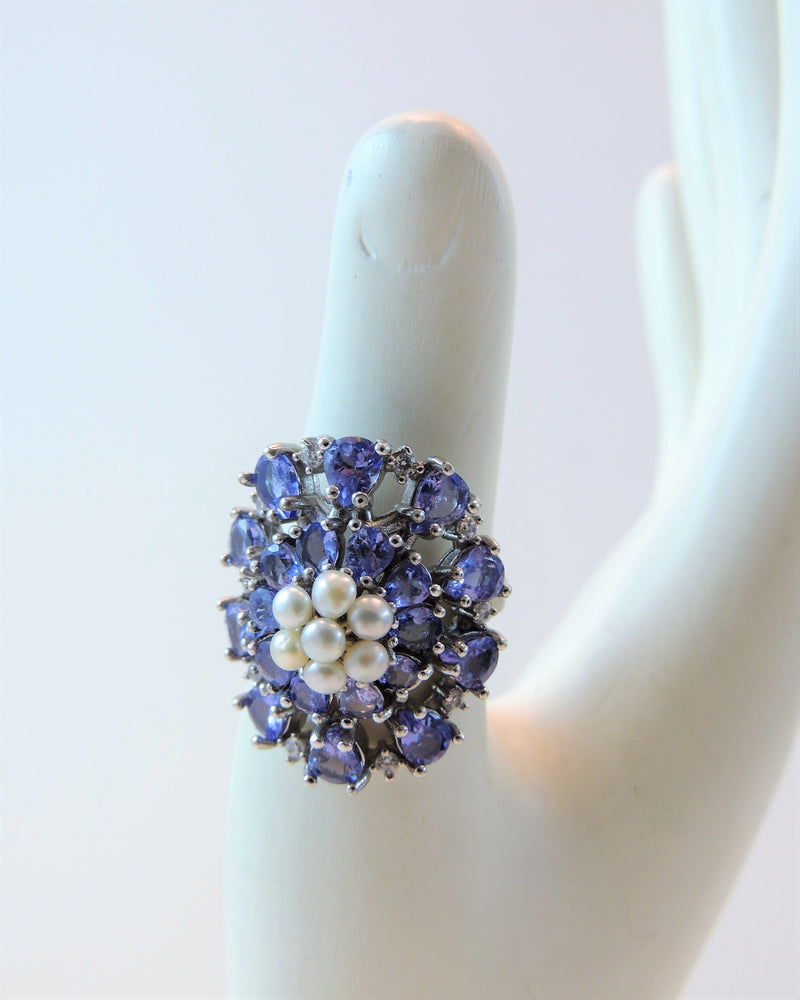 Sterling Silver Tanzanite, Pearl, & Topaz Ring