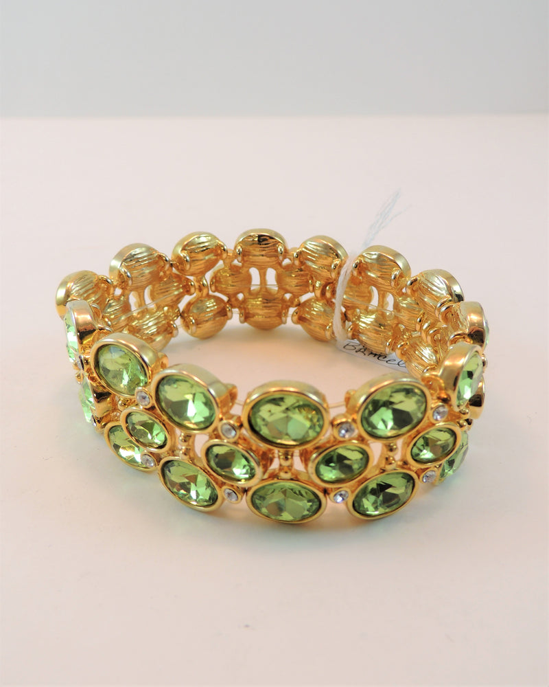 Green Rhinestone Stretch Bracelet