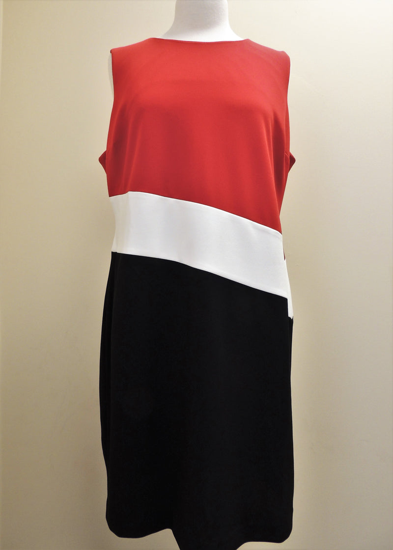 Tommy Hilfiger Red/White/Black Dress (Size 18)