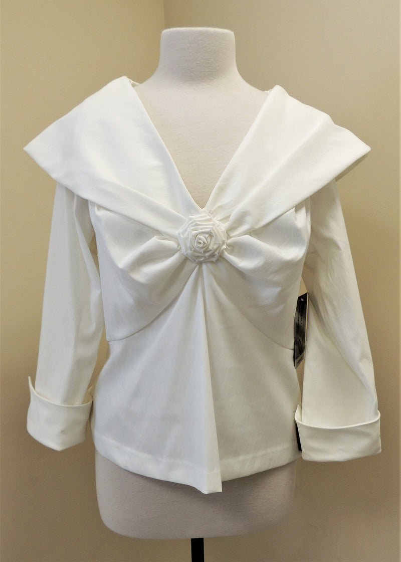 NEW Samuel Dong Creme Blouse w/ Rosette Center (XL)