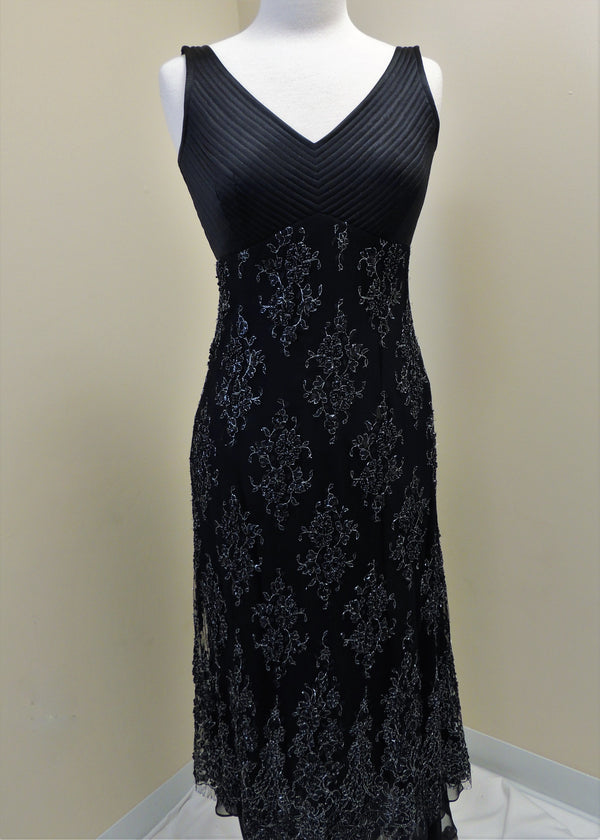 Sylvia Standia Black Silk Beaded Gown (4)