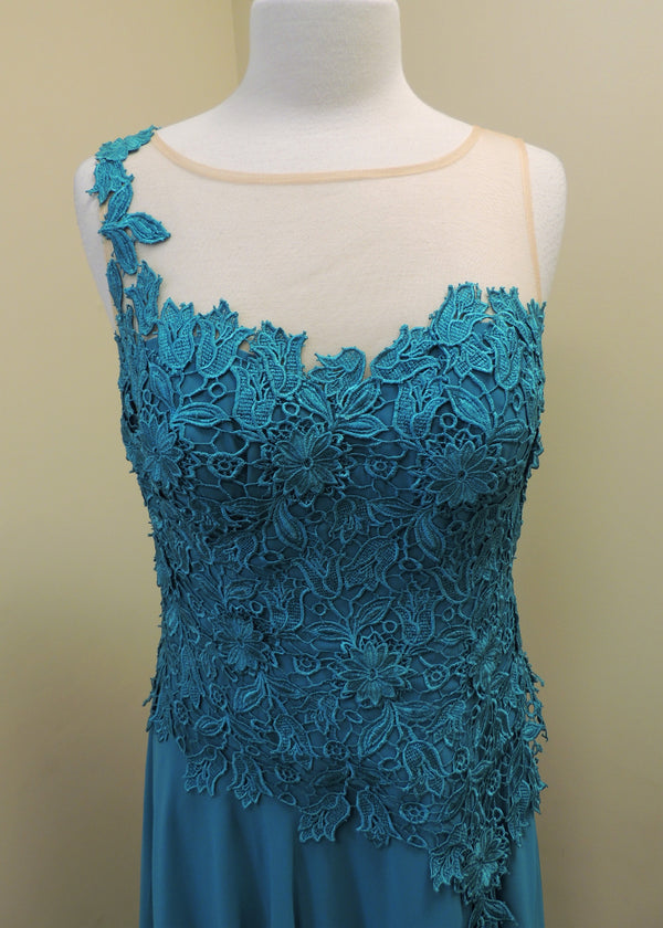 NEW Turquoise/Beige Lace Gown (12)