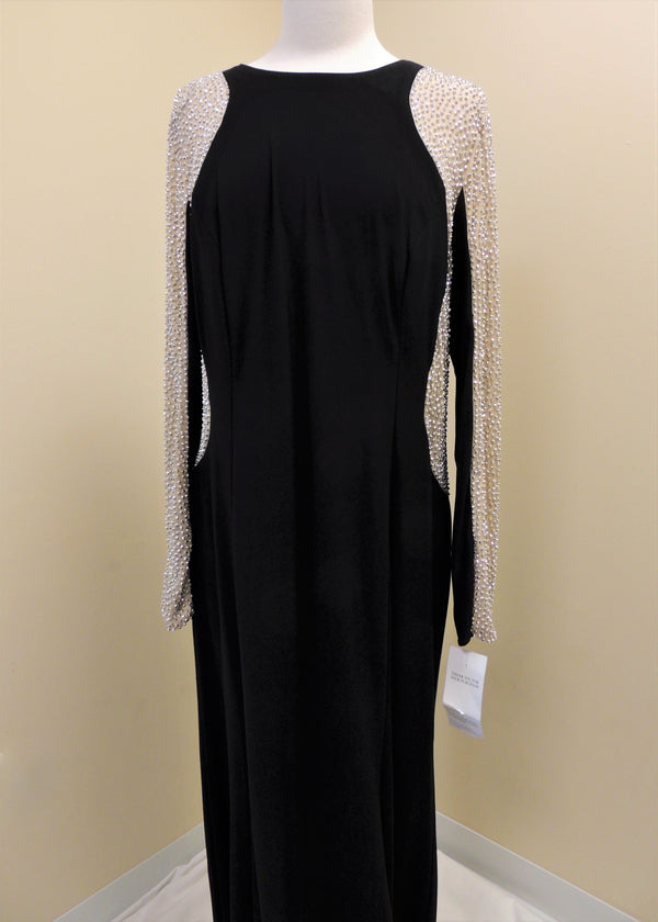 NEW Black Evening Gown w/ Beaded Sleeves (18W)