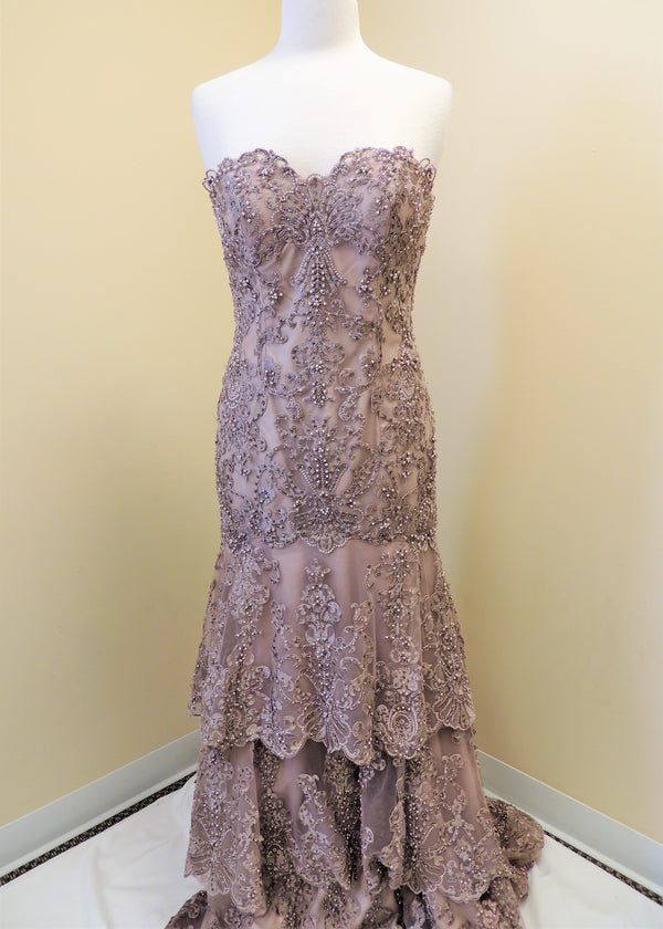 NEW Light Purple Strapless Beaded Gown (8)