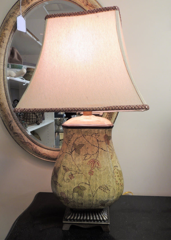 Hand Painted Gold Tone w/ Red Accents Lamp & Shade
