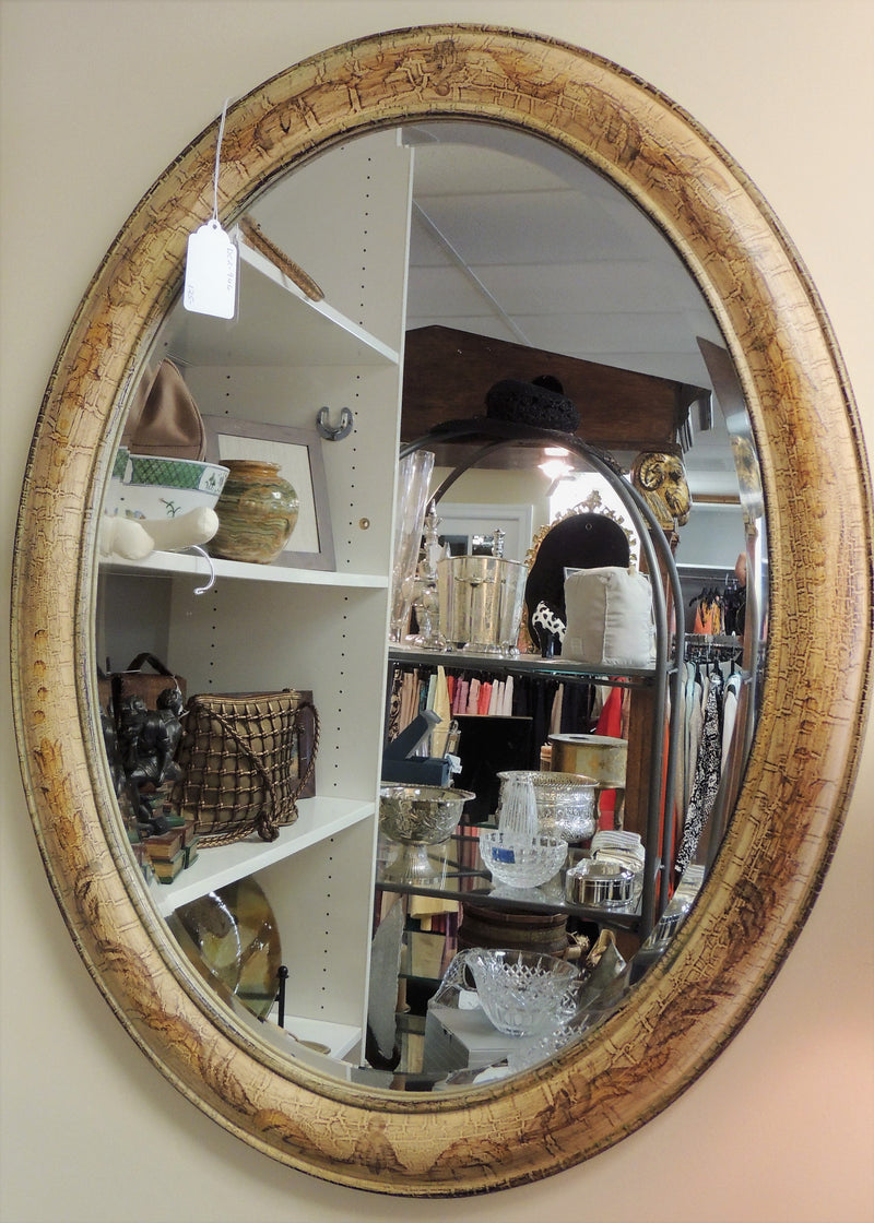 Hand Painted Animal Print Oval Beveled Mirror