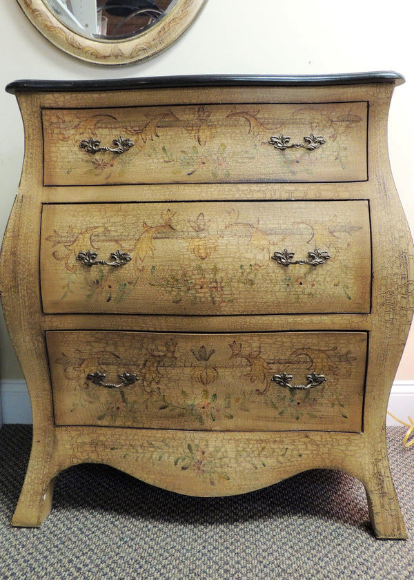 Hand Painted Bombé 3 Drawer Chest w/ Black Granite Top