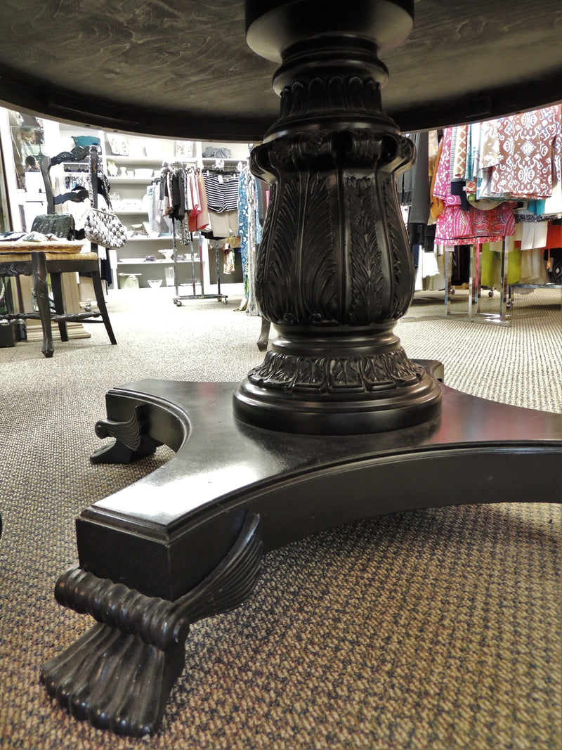"SOLD OUT - ""Four Seasons Hotel"" Black Granite Pedestal Table w/ Lion Paw Feet"