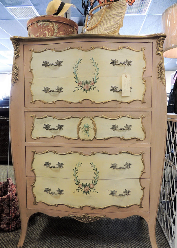 Handpainted Vintage Dusty Rose/Creme 5 Drawer Chest