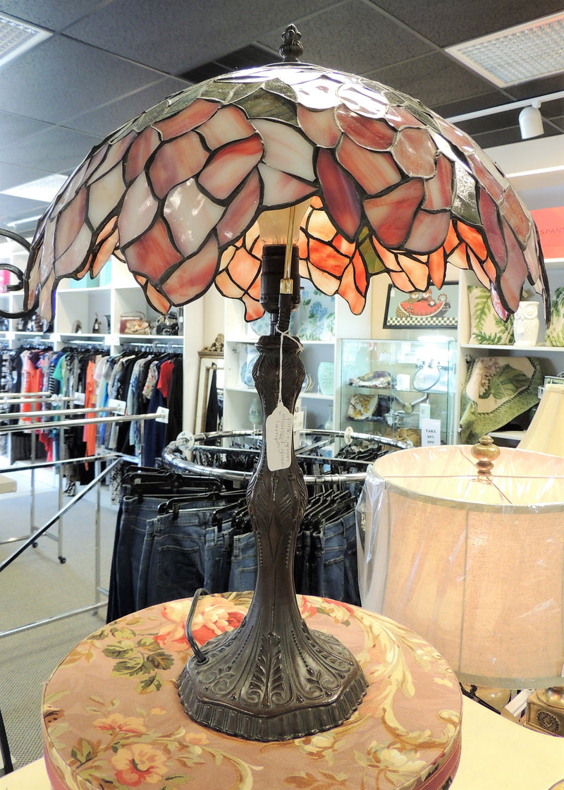 Dusty Rose/Green Leaded Glass Petal Shaped Lamp