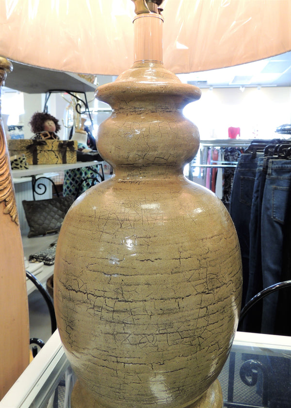 NEW Taupe Pottery Lamp w/ Linen Shade