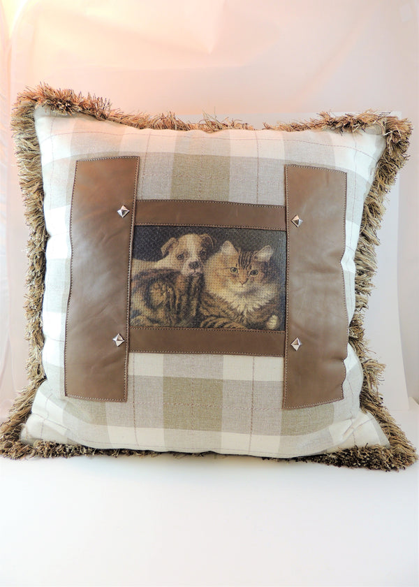 Large Plaid Cat & Dog Pillow